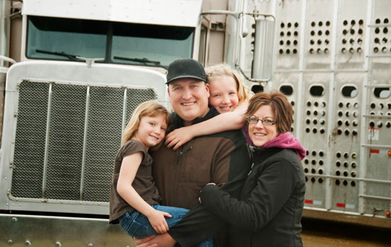 truck driver and family